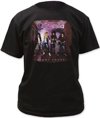 Cinderella Rock Band T-shirt - Night Songs Album Cover Men's Shirt. Black