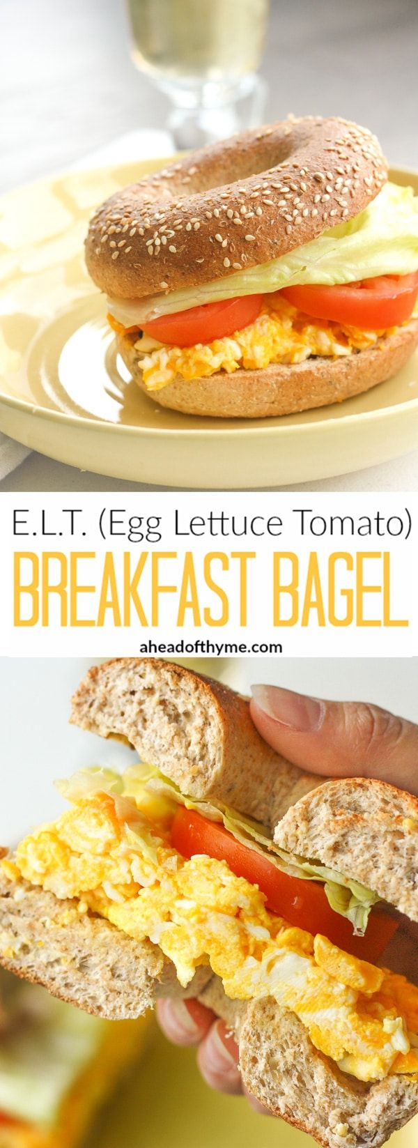 E.L.T (Egg Lettuce Tomato) Breakfast Bagel: Start your morning right and curb your hunger with a healthy and classic breakfast bagel | aheadofthyme.com via @aheadofthyme