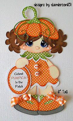 Girls Pumpkin Fall Paper Piecing PreMade 4 Borders Scrapbook Album danderson651