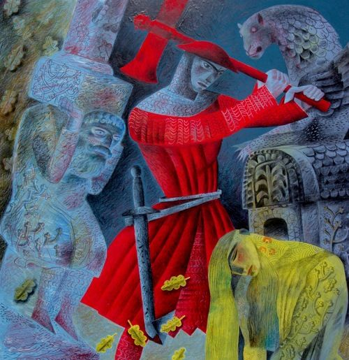'The Green Knight Bows to Gawain's Blow' by Clive Hicks-Jenkins, 2016 (study)