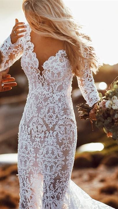 Vintage lace long sleeve mermaid wedding gowns. #bohowedding #bohoweddingdresses... 7