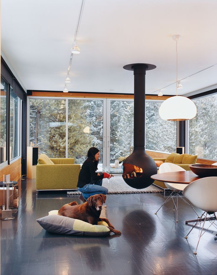 Like the idea of hanging fireplaces