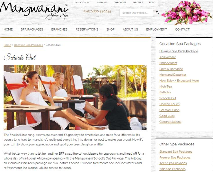 School's Out Package; Web page to promote Special Event Celebration package for Mangwanani African Day Spa (South Africa)   #wordtiffie Need similar (or other copywriting/web content) work done?  Contact me - darrell@wordtiffie.co.za