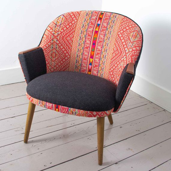 Chinchero Chair - 1960's Danish Chair with Handwoven Peruvian Tribal Textile Upholstery on Etsy, £950.00