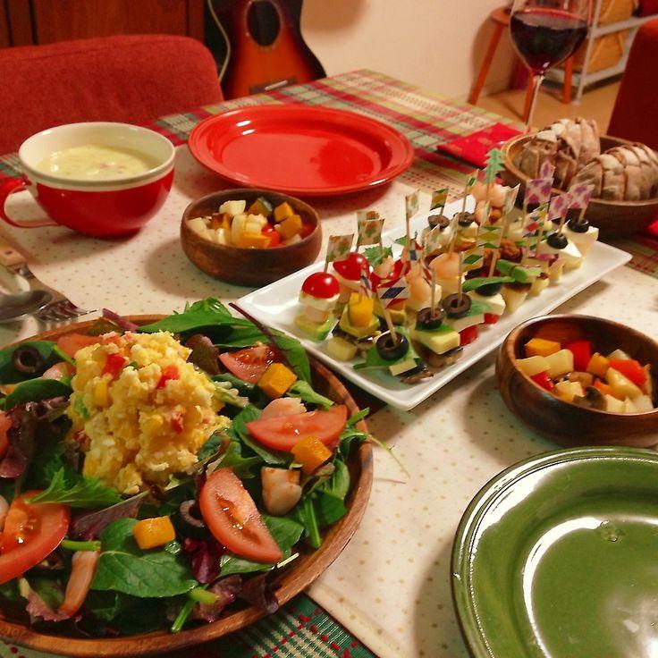 クリスマスディナー | 2013年のクリスマスディナーはピンチョスにしました(o^^o) パンは赤ワインとドライフルーツとナッツ練り込んだクリスマスらしいパンを焼きました。