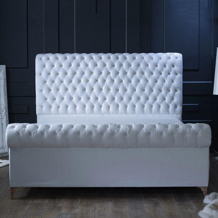 Alexander King Velvet Bed Frame, Optic White, Choose Option