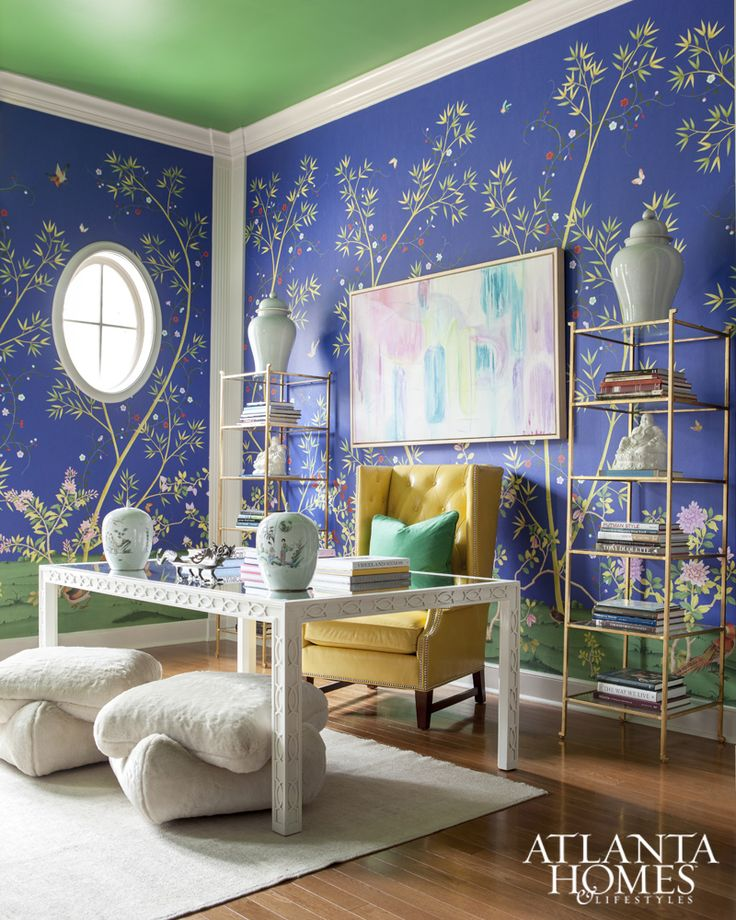 Chinoiserie Wallpaper   Bold Vibrant Colorful Study   White Parson Table  Desk   Brass Shelves