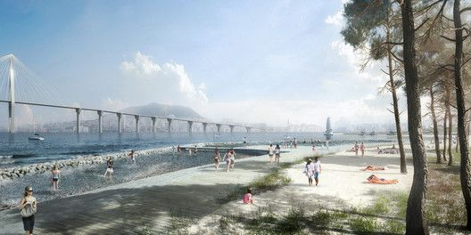SYNWHA Consortium Wins Competition to Design Waterfront Park for Busan North Port,Sandy Beach. Image Courtesy of SYNWHA Consulting