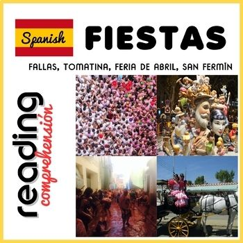 I have designed this 4 reading comprehension activities for my 6th, 7th and 8th grades, but it can be used with advanced 5th graders too. And of course with older students and adults! It includes 4 texts about Spanish Fiestas: Fallas, Feria de Abril, San Fermín and Tomatina.