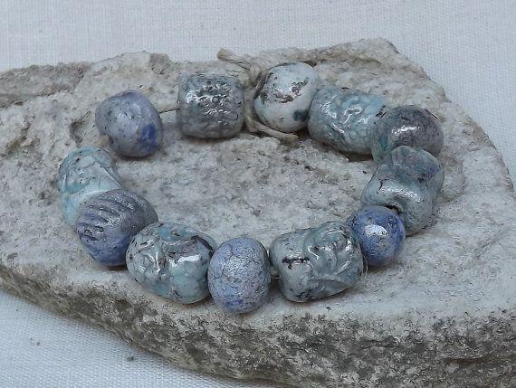 12 Ceramic beads blue bead raku by BlueBirdyDesign on Etsy