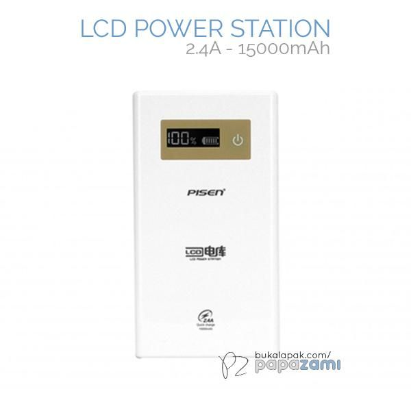 Pisen LCD Power Station 15000mAh (2.4A) (Apple White)  Product Name: LCD Power Station (2.4A) Brand: Pisen Type: Power Bank Weight: 325.8g Capacity: 15000mAh Battery Type: Original Grade A Lithium-ion Battery Dimension: 132.5 x 78 x 26mm Output: USB 5V==1A/2.4A, Out1+Out2: 5V==2.4A Input: 5V==2A  Pisen LCD Power Station (2.4A) 15000mAh * Smart temperature control keeps power bank temperature low when in use.  * Dual outputs(1A/2.4A) * 7S Protection system prevents overcharging, overvoltage…