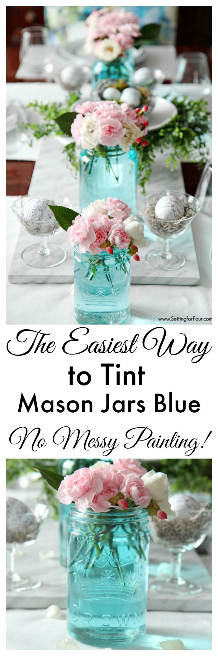 This is completely GENIUS! A slap myself in the forehead so easy way to tint mason jars blue! You won't believe how SIMPLE and INSTANT it is to get that perfect vintage blue mason jar color without any messy painting! And you can customize the color for your decor! www.settingforfour.com