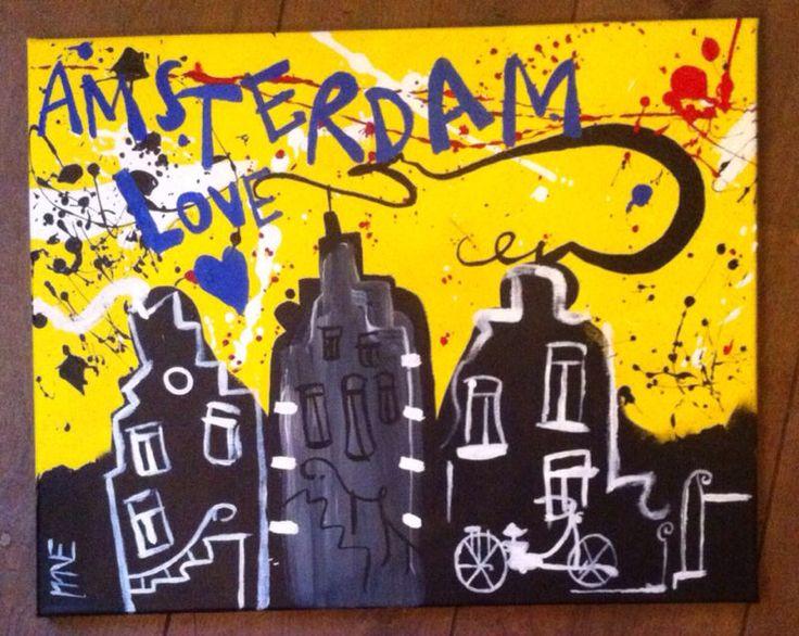 Amsterdam Love. Acrylic on canvas. Selwyn Senatori reproduction