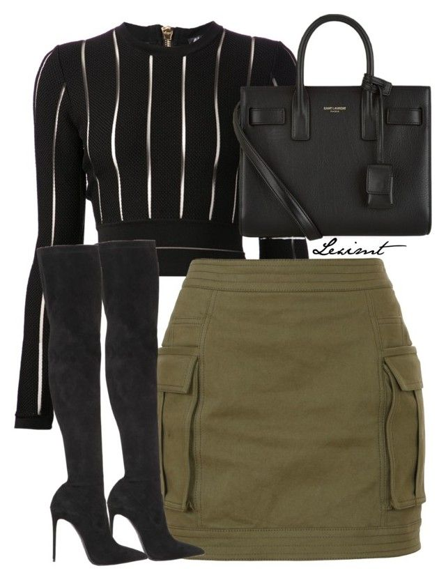 Untitled #774 by leximt on Polyvore featuring polyvore, fashion, style, Balmain, Le Silla, Yves Saint Laurent and clothing