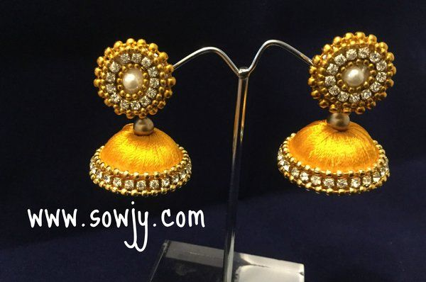 Silk Thread Jhumkas in Golden yellow- Size-Medium!!!!