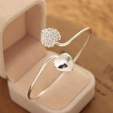 Silver Double Love Heart Cuff Bracelet Bangle Woman Jewelry