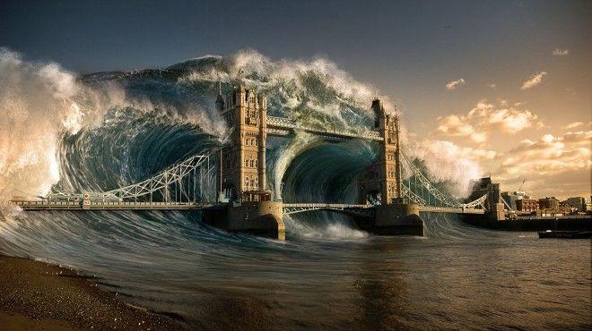 Landscape. Tsunami. Flood. bridge. london. matte painting