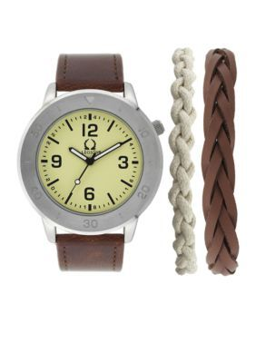 Legion Men's Silver-Tone Bracelet And Sporty Watch Set - Brown - One Size