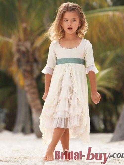 New style princess cute country style scoop short chiffon for Beach wedding flower girl dresses