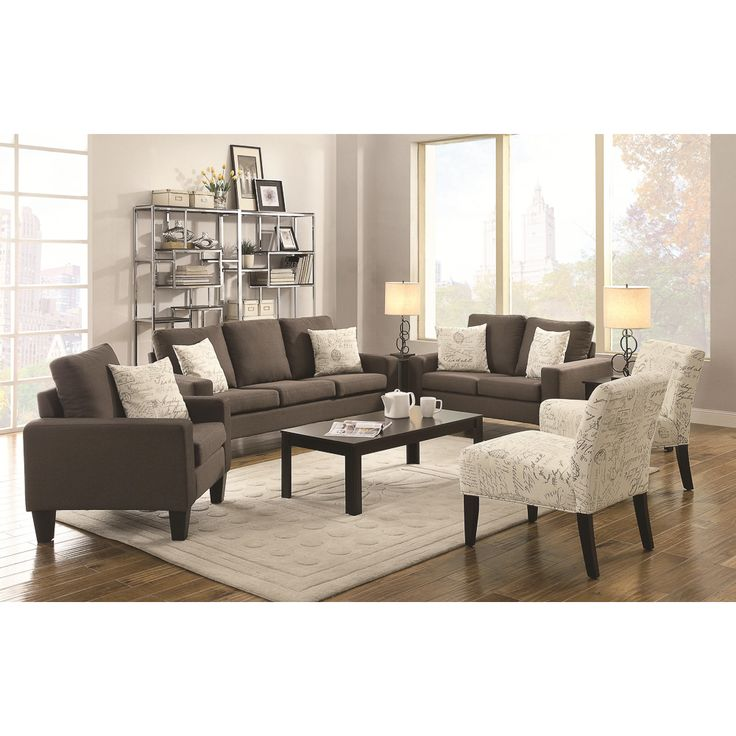Add comfort to style with this classically styled living room set. The plush synthetic leather adds a modern twist, while the dark wood legs complete the look.