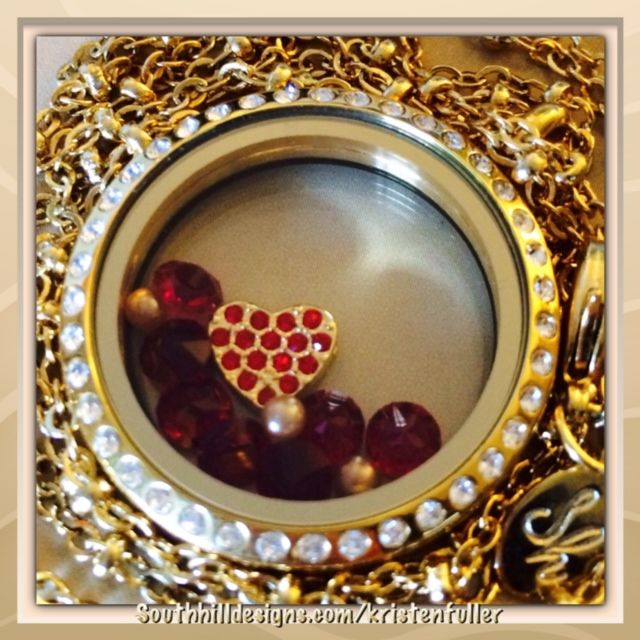 #love Click photo to order: large gold locket, gold heart charm, july birthstone crystals (red), 1 pack gold pearls (come 3 to a pack).