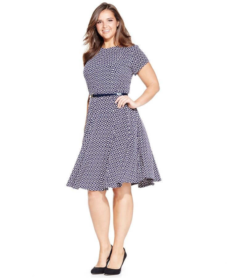 Jessica Howard Plus Size Printed A-Line Dress - Dresses - Plus Sizes - Macy's: