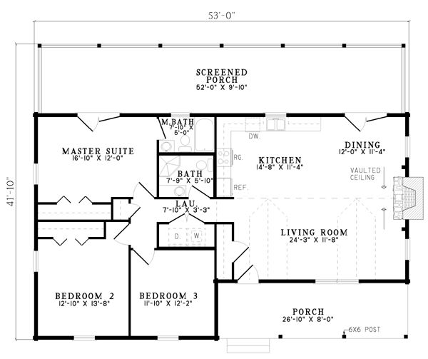 First Floor Plan of Log   House Plan 61152