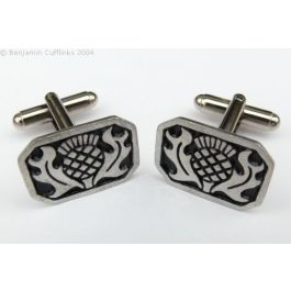 Modern Scottish Thistle Cufflinks - Handmade from pewter and featuring the Scottish Thistle.