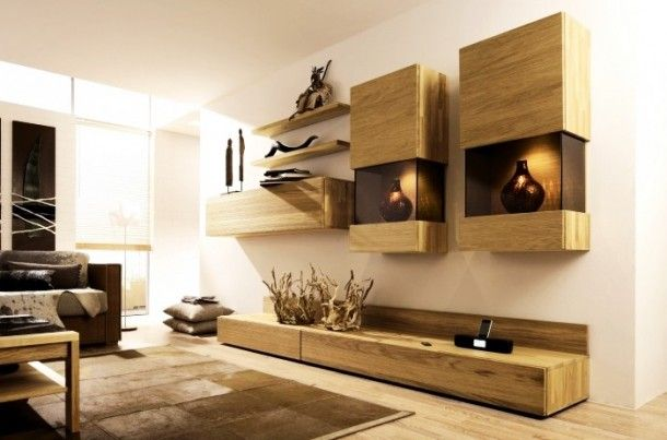 Decoration - Creative Wooden Minimalist Media Center With Hanging Wall Units And Artistic Ornament: Wood Wall Panels Unit Combinations Desig...