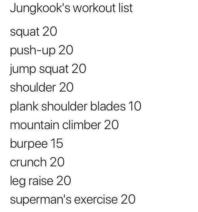 Jungkook Of Bts Daily Workout Routine Daily Exercise Routines Kpop Workout Workout List