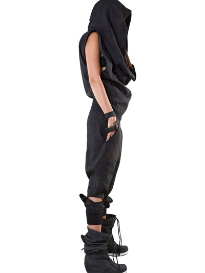DEMOBAZA - HOODED BLACK MOON LINEN JUMPSUIT