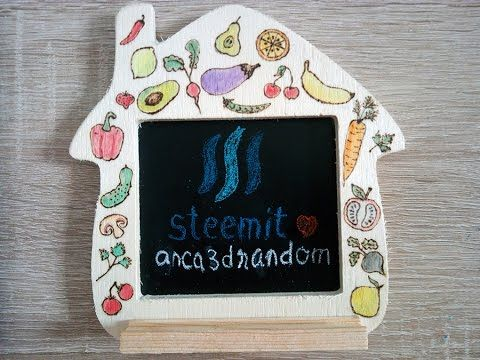 How to make Decorative Mini Kitchen Blackboard - Pyrography Art + Watercolors…