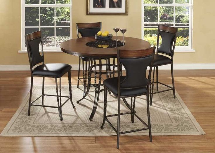 McFerran Home Furnishings - Dynasty 5 Piece Counter Height Table Set in Walnut - ADYN4836-5SET