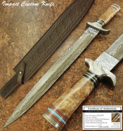 IMPACT CUTLERY RARE CUSTOM MASSIVE LARGE DAMASCUS DAGGER KNIFE CAMEL BONE HANDLE | Предметы для коллекций, Ножи, мечи и клинки, Коллекционные ножи с фиксированным клинком | eBay!