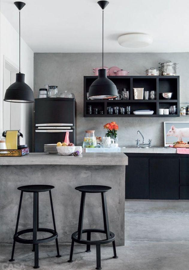 Tons de cinza na sua cozinha, inspiração para ambientes com seriedade! #ficaadica #homedecor #clean