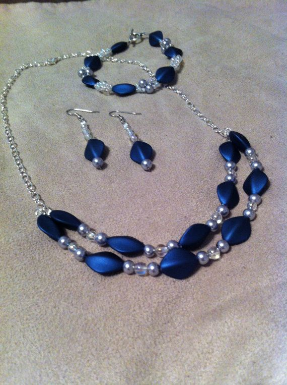 Beaded necklace handmade beaded jewelry Blue beads by JesRoy, $32.00  - Or maybe $10 total for materials~