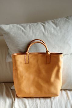 Hand Stitched Washed-Out Beige Color Leather Tote Bag