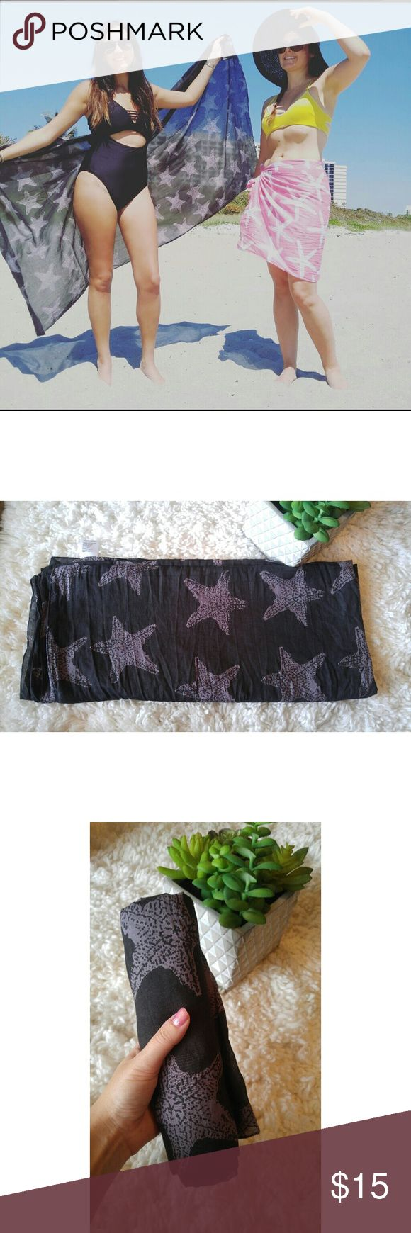 Black sea star sarong West indies wear black sea star sarong. These are the greatest!. Beach cotton thin large sarong. Tie it in any way- skirts, dresses, scarfs ect. This sarong was worn once at a show seen in the photo above. west indies wear Accessories Scarves & Wraps