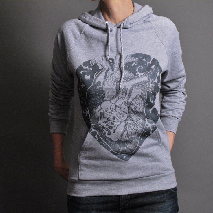 Fashion Hoodie Anatomical Heart Hoodie - Heather Grey Winter Sweatshirt -  Anatomy Heart Bird Flower Leaves - Unisex Hoodie. $44.00, via Etsy.