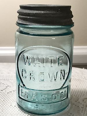 White-Crown-Mason-Aqua-Pint-Fruit-Jar