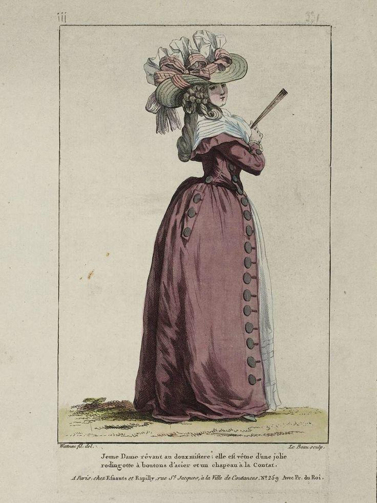 1787 Jeune Dame rêvant au doux mistere: elle est vêtue d'une jolie rodingotte à boutons d'acier et un chapeau à la Contat.