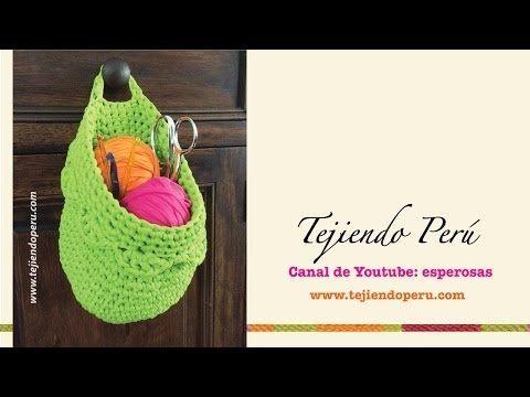 Canasta colgante organizadora tejida en crochet XL en trapillo (Crochet hanging basket tutorial) - YouTube