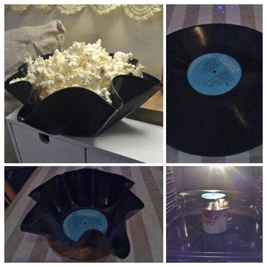 Roligt och kreativt sätt att återbruka trasiga LP-skivor! Från: Facebook / Återbruka mera!