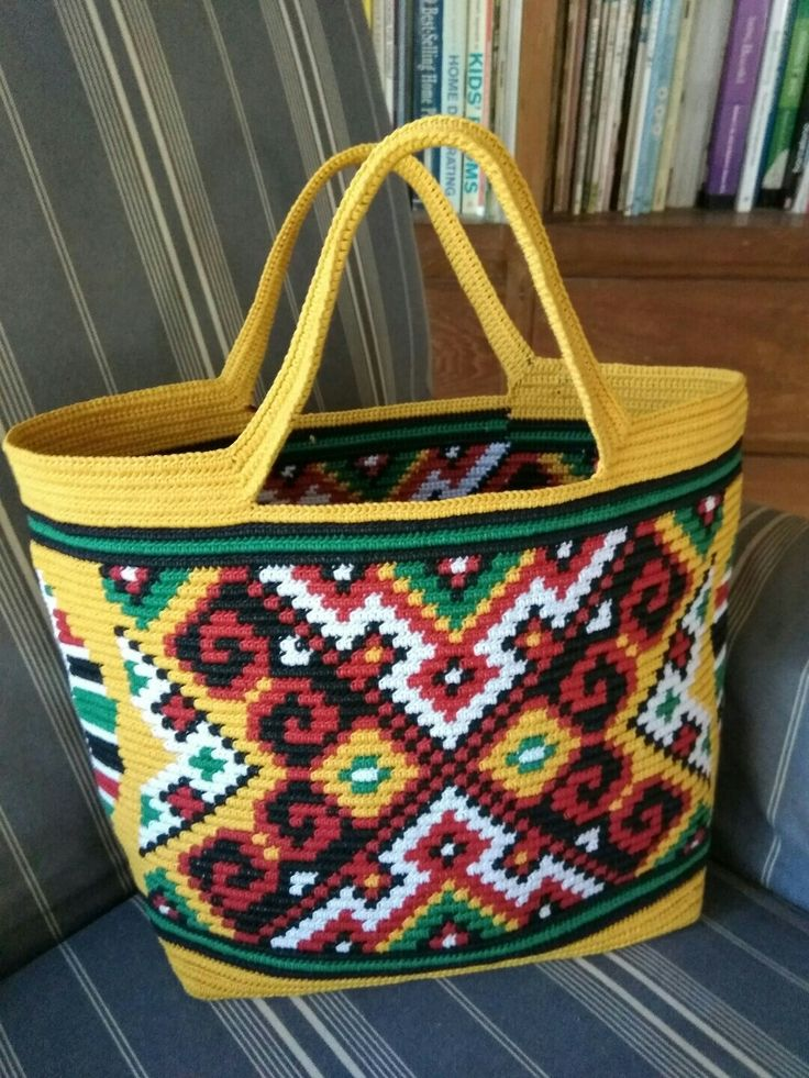 tapestry crochet inspired from Dayak Kalimantan, Indonesian traditional pattern. Made from waxed cotton cord 1 mm