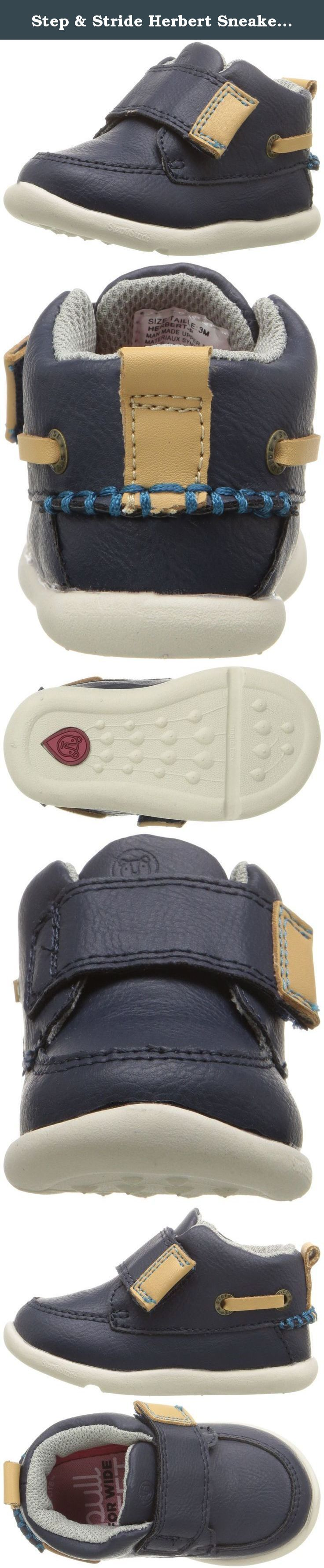 Step & Stride Herbert Sneaker (Infant/Toddler), Navy, 3 M US Infant. We've added a little extra height (and style) to the classic boat shoe. Perfect for the playground or the yacht club, these adorable little boat boots feature sturdy construction, timeless styling and hand-stitch details for a more grown-up look that both you and your little one will love.