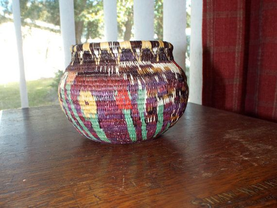 Traditional Southwestern Rustic Handwoven Basket Intricate Weaving Pattern Home Decor Small Storage