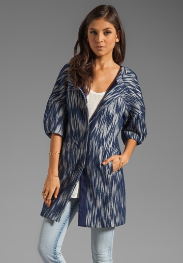 Milly Ikat Jacquard Bianca Day Coat in Navy  Cute!