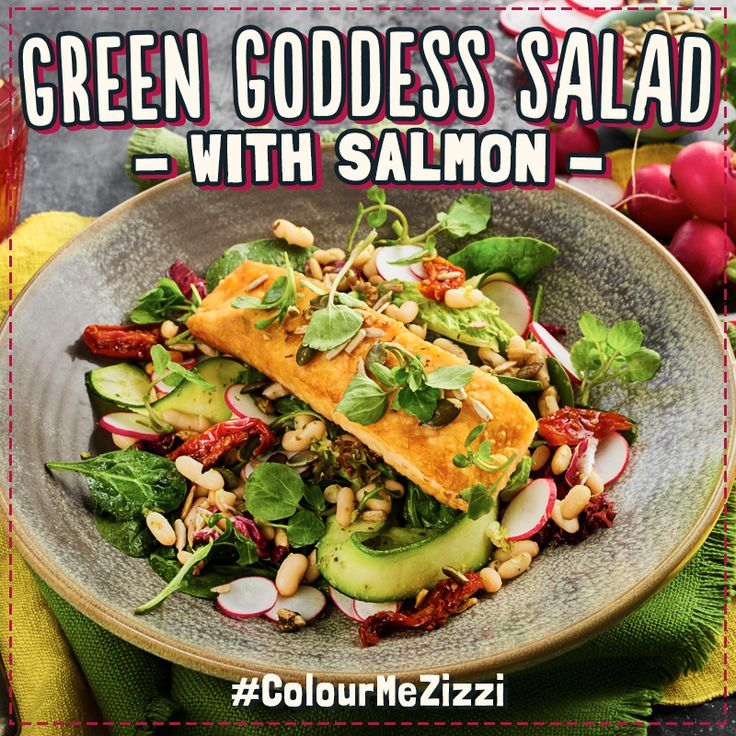 Green Goddess Salad pan-fried salmon fillet on cannellini beans, courgette ribbons & mixed leaves tossed in super green pesto with balsamic tomatoes, radish, baby watercress & toasted omega seeds. Vegetarian? Go greener, swap your salmon for tenderstem broccoli. #ColourMeZizzi