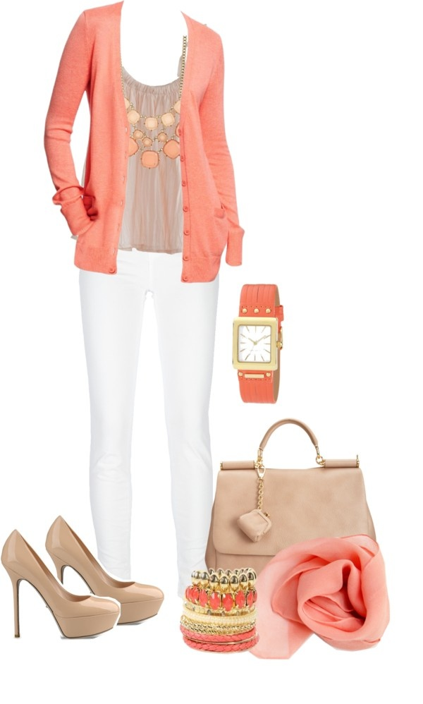 """A coral cardigan"" by going-dutch ❤ liked on Polyvore"