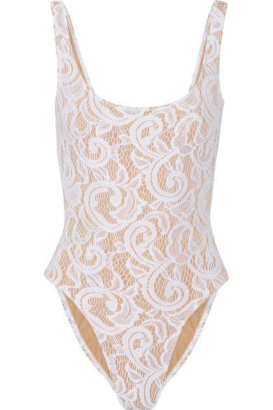 Norma Kamali - Mio Stretch-lace Swimsuit - White - x small